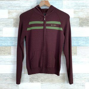 BCBGMaxazria Ribbed Hoodie Sweater Brown Green